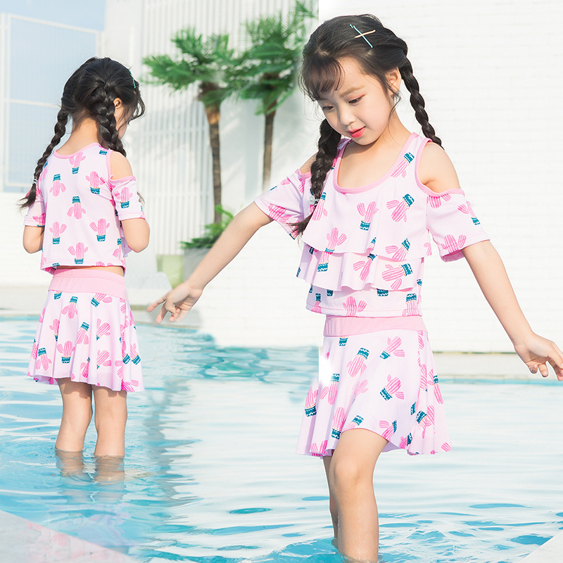 2019 New Style Hot Sales Little Girl Summer Day Cactus Printed Two-piece Swimsuits Princess Girls Dress-Bathing Suit