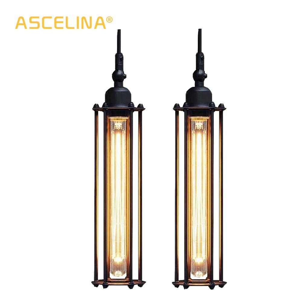 2 Pieces Industrial Pendant Light Vintage Pendant Lamp Retro Handing Lamp American Restaurant Living Room Dining Room Decoration