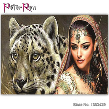 DIY Diamond Embroidery Indian girl Painting Tiger beauty Square or round mosaic crystal Beaded Full Paste Cross stitch