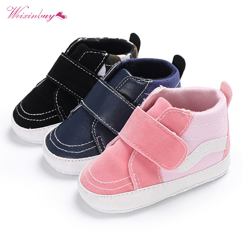 Infant Sneakers Baby Boys Girls Shoes Footwear High Top Soft Sole First Walker Newborn Toddler Prewalker Crib Sports Shoe