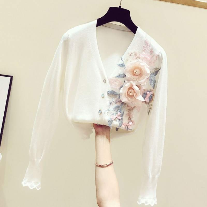 2020 Spring Autumn New Korean-Style Hand-Made Embroidery Flower V-neck Long-Sleeve Knit Cardigan Women's Cardigan Coat Knitwear