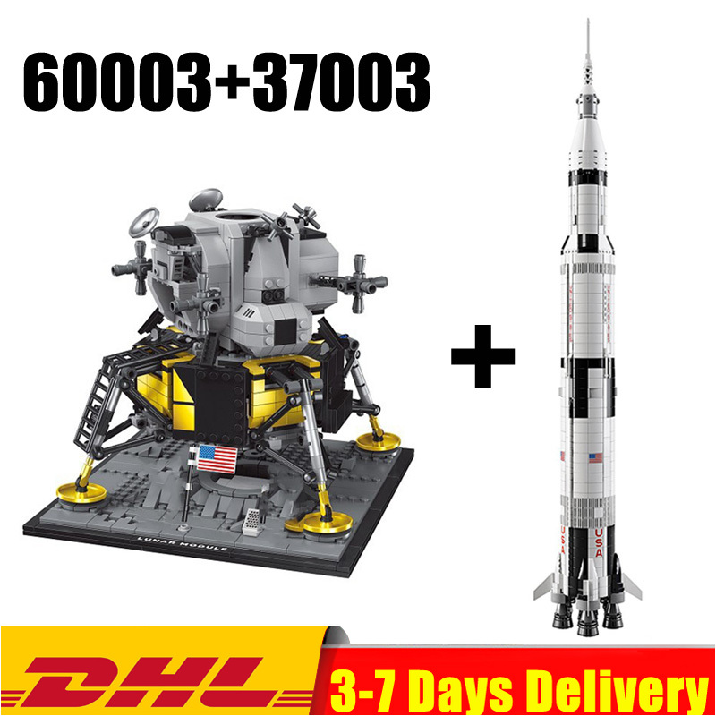 In Stock 37003 Apollo Saturn V Space Launch+60003 Apollo 11 Moon Space Rocket Lunar Lander Model Building Blocks Toy 10266 21309