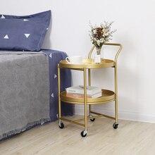 Скандинавские Стразы золотистые металлические передвижной кофейный столик гостиная придиванный столик дисковая тележка обеденный стол дешевый стол мебель для дома