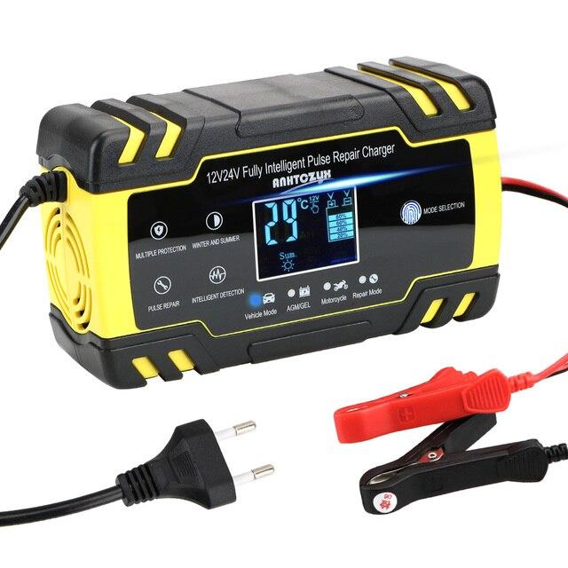 Auto Batterij Oplader Power 12V 24V 8A Volledige Automatische Puls Reparatie Laders Nat Droog Lood zuur Batterij Opladers Digitale Lcd Display