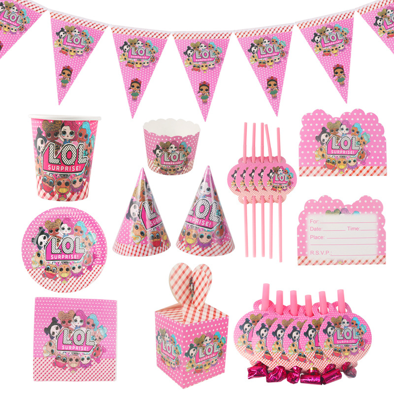 Birthday Party Decorations Kids LOL Dolls DIY Theme Decoration Supplies Cup Plate Spoon Wedding Cake Topper
