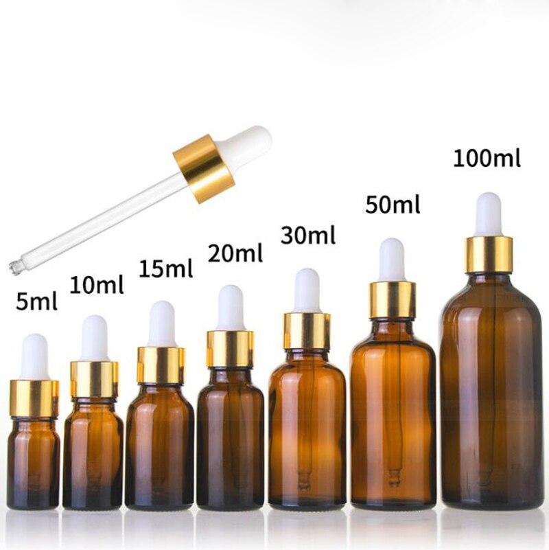 Оптовая продажа 5 мл 10 мл 15 мл 20 мл 25 мл 30 мл 50 мл 100 мл бутылка капельница из янтарного стекла пустые косметические бутылки для эфирного масла - 2