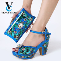 Blue Comfortable African Nigeria Summer Woman Pumps Shoes And Bags Set Wedding Shoes And Bag Matching Set