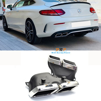 1 pair silver/ black Exhaust pipe Muffler tips tailpipe 304 Stainless steel for Mercedes Benz W205 Class C C200 C300 C260 C180