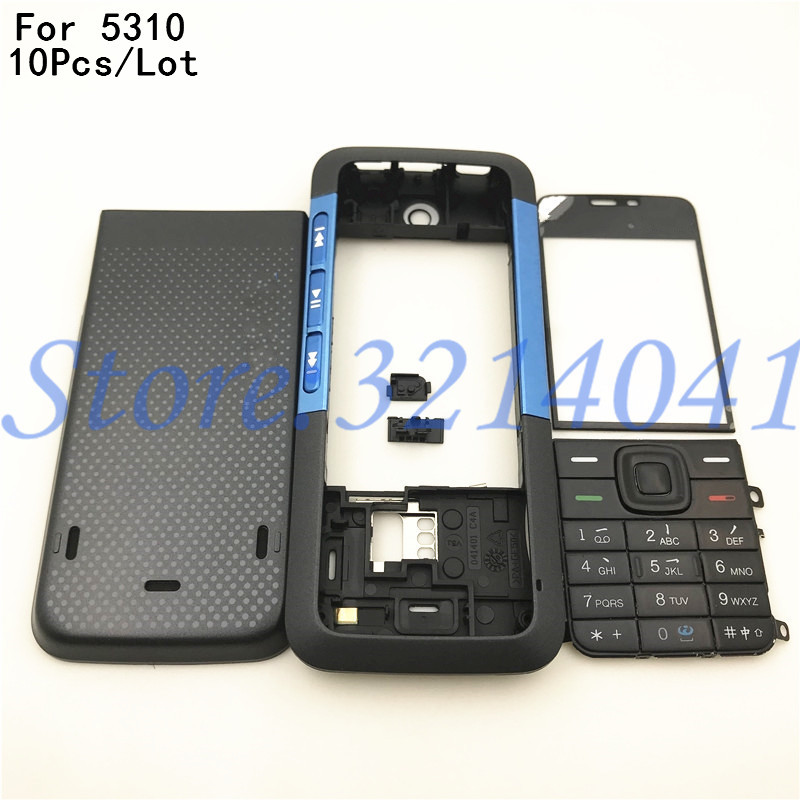 10Pcs/Lot For <font><b>Nokia</b></font> <font><b>5310</b></font> New Full Complete Mobile Phone Housing Cover <font><b>Case</b></font>+English Keypad +Logo image