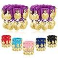 1 пара браслетов и манжет для танца живота, шифоновые золотые монеты, аксессуар для костюма для танца живота