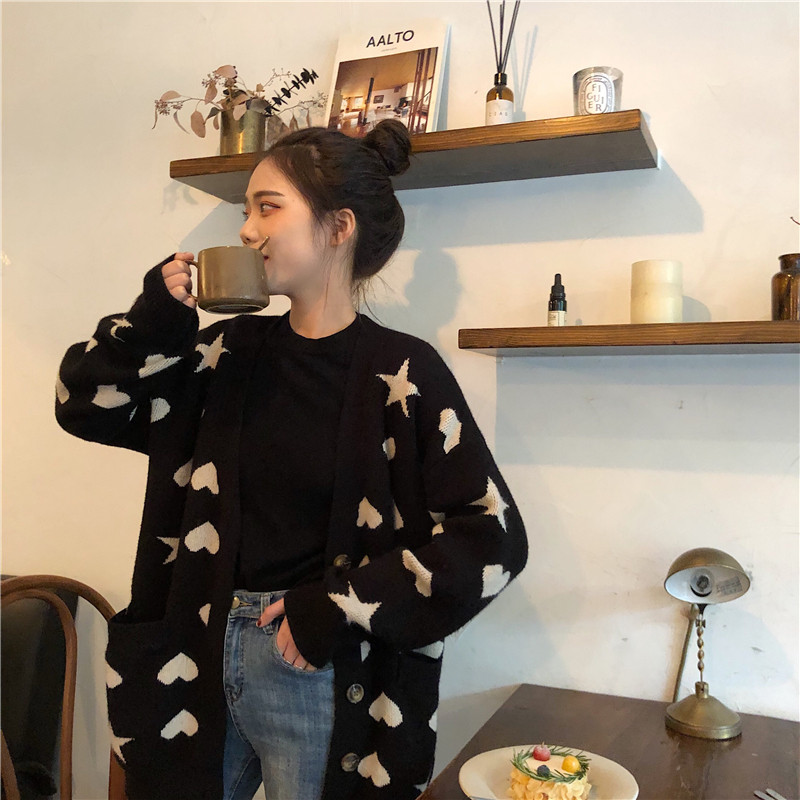 2019 Early Spring New Love Star Sweater Coat Female Loose Long Sleeves Thick Outside Knitted Cardigan