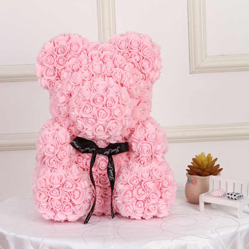 2020 ホット販売 40 センチメートルクマのバラ人工花ホームウェディング祭 Diy 格安結婚式の装飾のギフトボックスドロップ無料