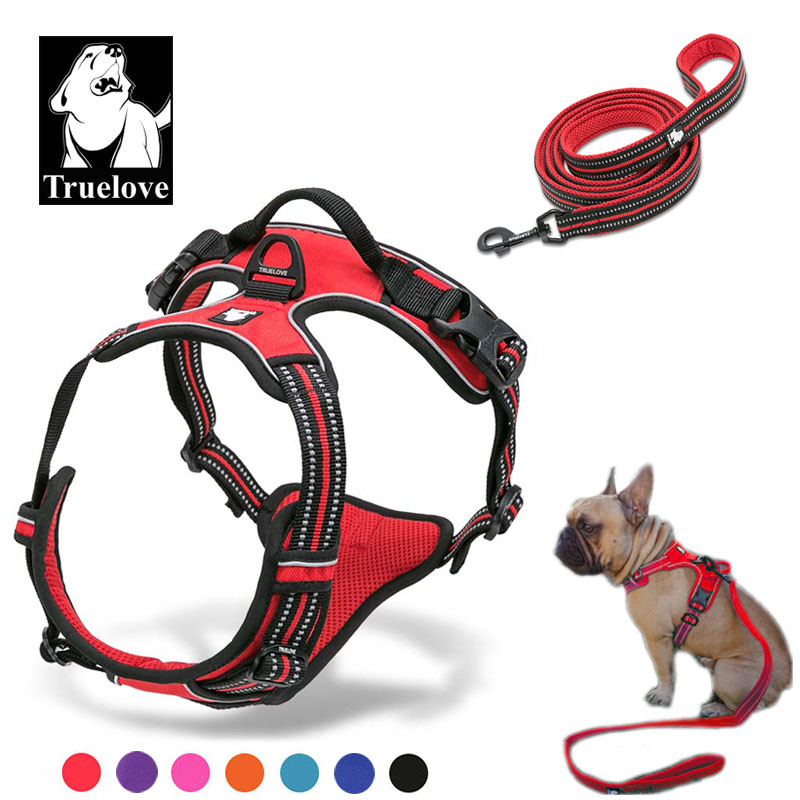 Truelove No Pull Dog Harness And Leash Set Reflective Soft Padded  Chihuahua Vest Harness Leash For Dog DropshippingHarnesses   -