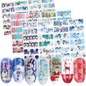 Image 1 - 12 adhesivos para pc en las uñas muñeco de nieve Elk adhesivo navideño de papel de aluminio calcomanías deslizantes para invierno decoración artística de uñas manicura set LABN/A 1