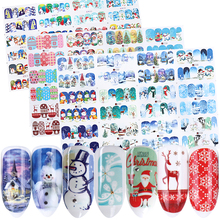 12 pc Stickers On Nails Snowman Elk Christmas Adhesive Foil Decals Water Sliders For Winter Nail Art Decor Manicure set LABN/A 1