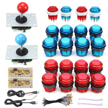 DIY Joystick Arcade Kits 2 Spieler Mit 20 LED Arcade Tasten + 2 Joysticks + 2 USB Encoder Kit + kabel Arcade-Spiel Teile Set