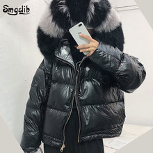 купить 2019 Winter Jacket Women Loose Short Coat Real Fur Coat Natural Fox Fur Collar White Duck Down Jacket Thick Warm Parka дешево