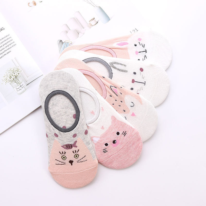 5 Pairs Cute Animal Cotton Socks Amozae Female Kawaii Cat With Dog Summer Short Sock Slippers Women Casual Soft Funny Boat Socks