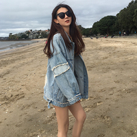 Women Spring And Autumn Fashion Brand Korea Style Vintage Hole Denim Blue Jacket Female Casual Loose Jacket Coat Cloth