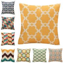 45x45cm Vintage Geometric Pillowcase Linen Home  Living Room Sofa Waist Cushion Cover Decorative Throw Pillow Case 45x45cm home fashion linen sofa cushion cover fabric pillow case solid color cushion decorative