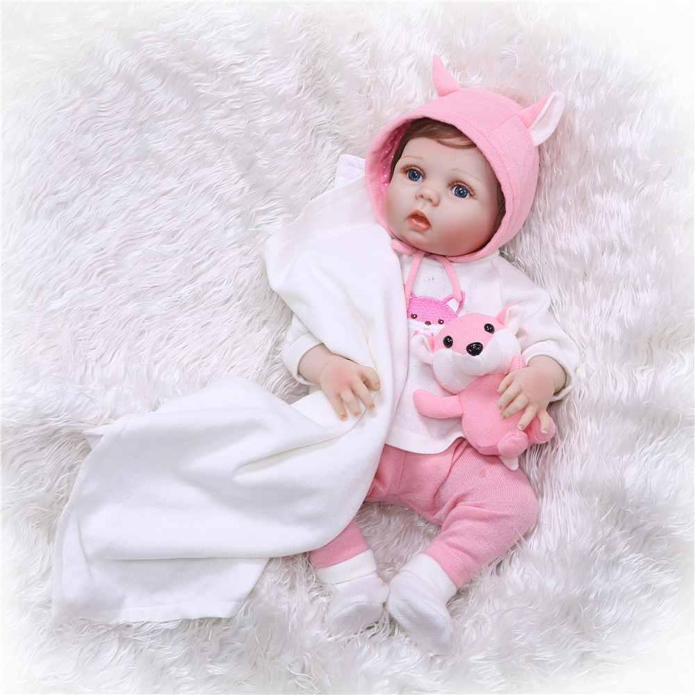 NPK 55 centímetros Realista cheio de silicone Bonecas Reborn Menina Reborns Silicone Realista bonecas Bonecas com Roupas Bonito Brinquedo
