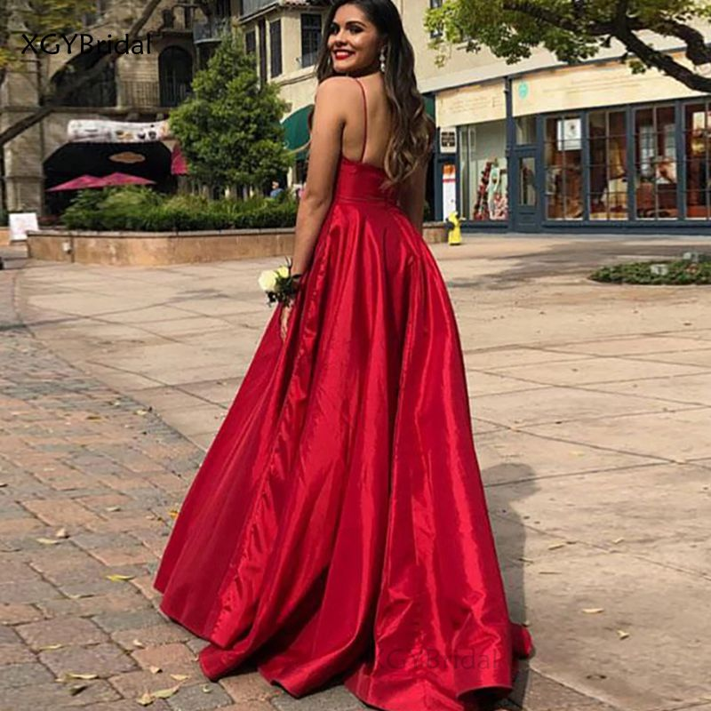 V-Neck Evening Dresses Elegant Spaghetti Strap Open Back Prom Dress Abiye Gece Elbisesi Sleeveless Satin Vestidos de Fiesta