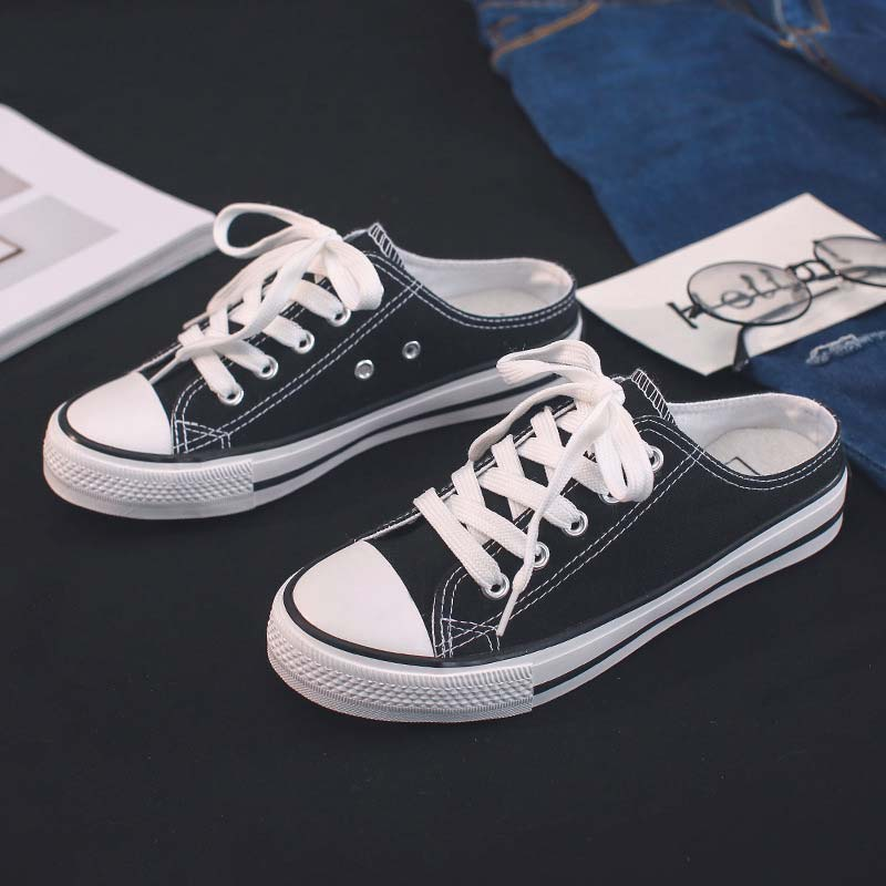 Casual Half-drag Canvas Shoes Woman 2019 New Fashion Solid Sneakers Women Vulcanized Shoes Lace-up No Heel Lazy Shoes Flats