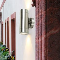 Nowa stal nierdzewna w górę w dół światła na ścianie GU10 IP65 podwójne na zewnątrz ściany światła w Latarki czołówki od Lampy i oświetlenie na