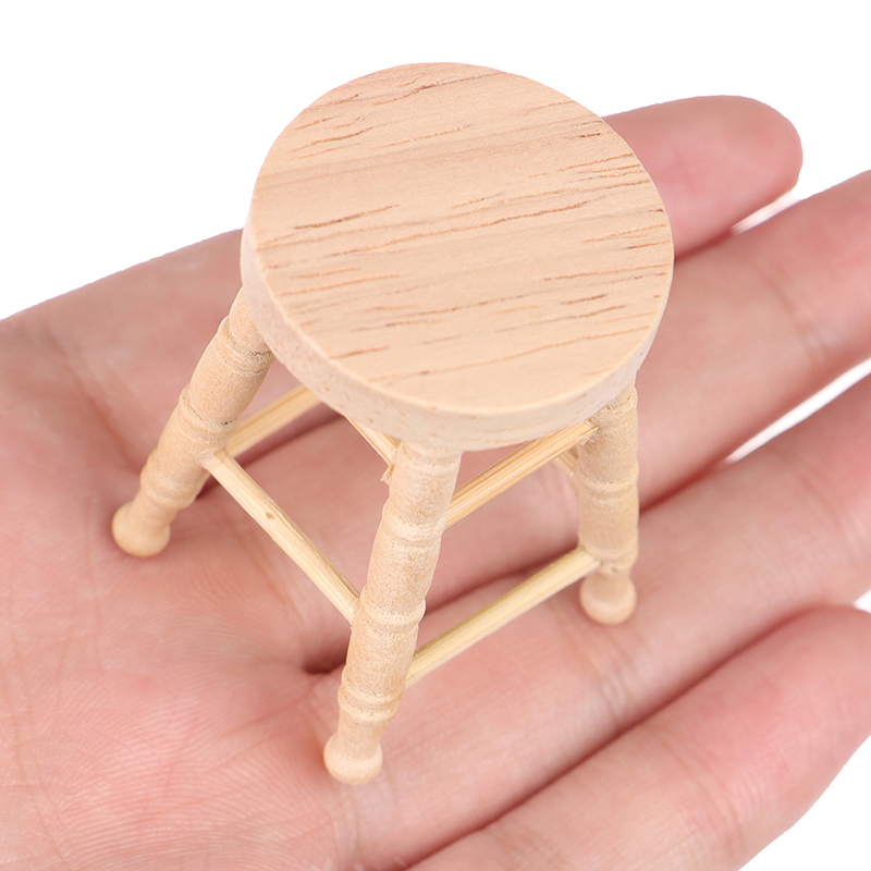1/12 Dollhouse Mini Wooden Stool Simulation Chair Furniture Model Toys For Doll House Decoration Miniature Accessories