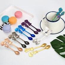 2Pcs/Set Stainless Steel Couple Coffee Spoon Dessert Ice Cream Stirring Tea Kitchen Tableware Wedding Supplies Gift