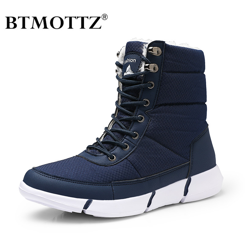 Men Boots Winter With Fur Super Warm Snow Boots Men Unisex Winter Casual Shoes Sneakers High Top Rubber Ankle Boots Waterproof