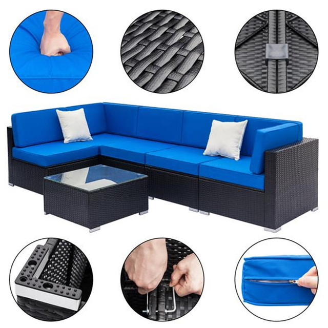 Weaving Rattan Sofa Set with 2pcs Middle Sofas &1 pc Coffee Table Black Embossed 5