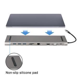 Image 2 - 6 في 1 USB نوع C Hub Hdmi PD تسليم الطاقة ميناء 4 USB 3.0 منافذ USB C مهايئ توزيع ل ماك بوك برو Thunderbolt 4 شاحن يو اس بي
