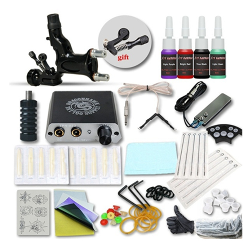 Tattoo Kit 4 Colors Inks Wrap Coils 1 Black Tattoo Motor Machine Grips Needles Power Supply Tattoo Kit For Beginner