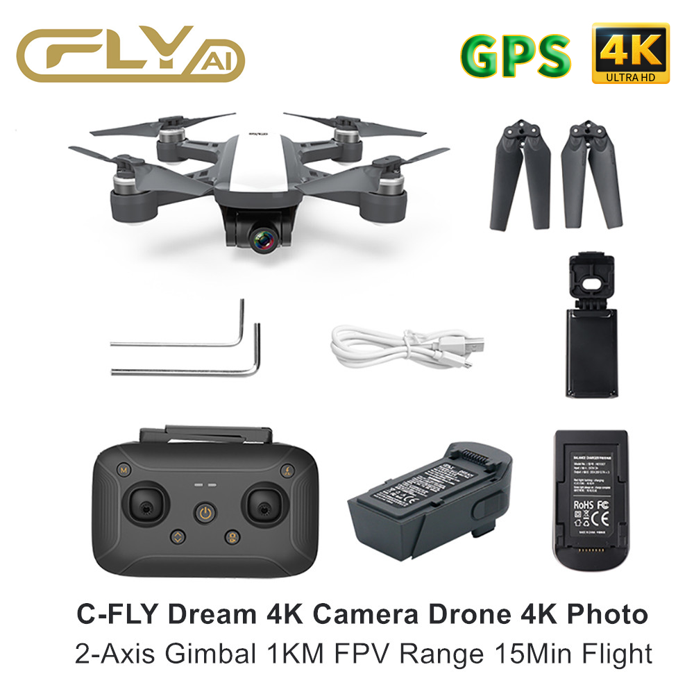 RC Drone 4K GPS Drone C-FLY Dream HD Camera Drone with 1km FPV 2-Axis Gimbal 15Min Flight RTF Quadcopter Drone Accessories Kit