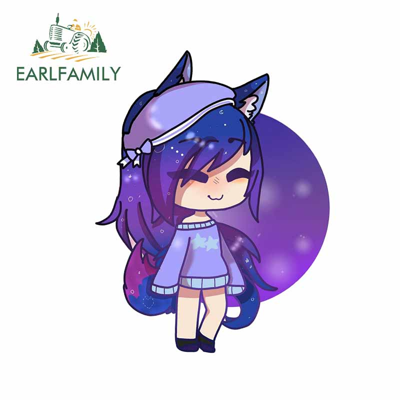 EARLFAMILY 13cm X 10.1cm For Cartoon Girl Gacha Life Camper Car Stickers Truck Decal 3D Funny Suitable For All Types Of Vehicles