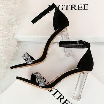 2021 Summer Crystal Sandals Bling thin Block Heels  5