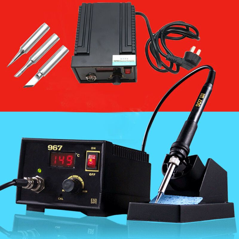 110V 220V 967 Electric Rework Soldering Station Iron LCD Display Desoldering SMD   M12 dropship-in Electric Soldering Irons from Tools