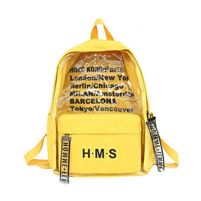 Harajuku Clear Canvas Letter Women Backpacks School Bags For Teenage Girls Female Quality Travel Backpack Bookbag Yellow