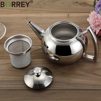 BORREY 2L Stainless Steel Teapot With Tea Infuser Filter Oolong Kettle Metal Tea Coffee Pot Induction Cooker Gas Stove Kettle 1