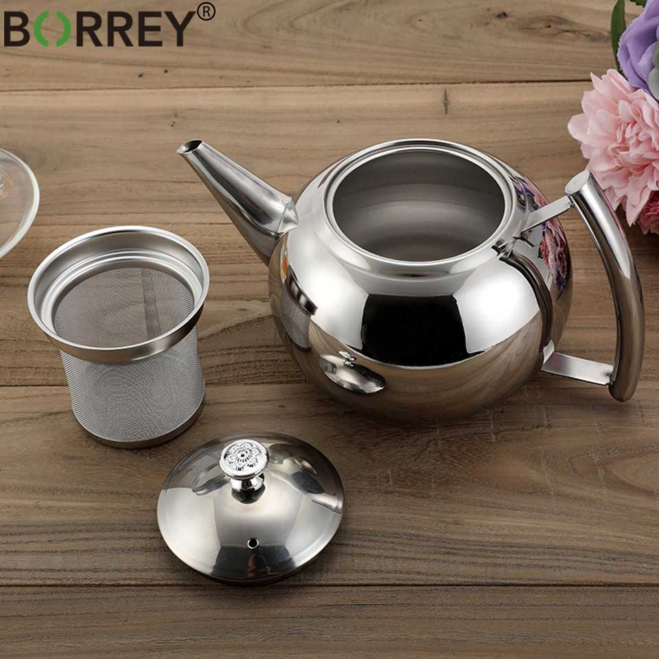 BORREY 2L Stainless Steel Teapot With Tea Infuser Filter Oolong Kettle Metal Tea Coffee Pot Induction Cooker Gas Stove Kettle