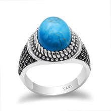Real 925 Sterling Silver Men Ring with Big Blue Turquoise & Black CZ Stone Vintage Thai Silver Ring for Male Turkish Jewelry(China)