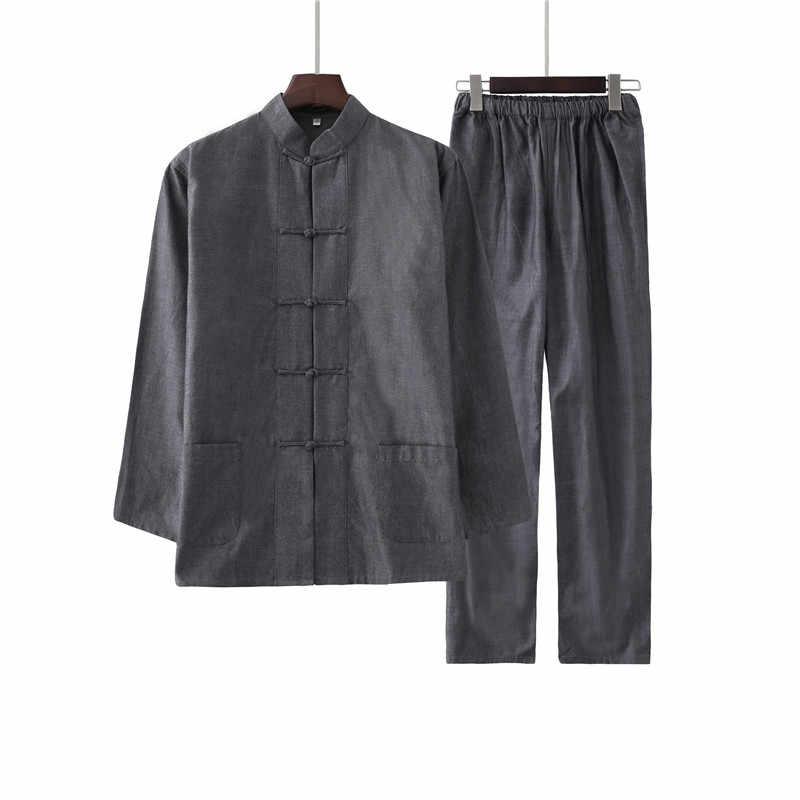 Mannen 100% Katoen Effen Kleur Kung Fu Pak Nieuwe Chinese Stijl Wu Shu Shirt & Broek Sets Hot Koop tai Chi Kleding M-4XL