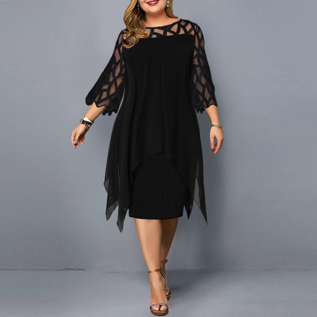 Fashion Women Mesh ChiffonDress Perspective Hollow Out double layerO Neck Sleeve Loose Plus Size Dresses