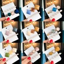 1SET Japan Fashion Hair Accessories Houndstooth Button Imitiation Pearl Hair Clips Metal Heart Star Crystal Hairpin Barrett цена
