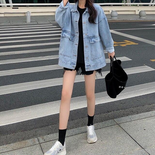 2 colors Women's casual Jean Coats 2019 autumn Women loose Denim Jacket Long Sleeve Loose Female Girls Outwear (78228) 5