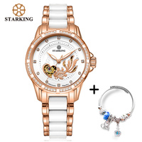STARKING Automatic Mechanical Women Watch Bracelet Set For Ladies Dress Rhinestone White Ceramic Wristwatches Lover Gift
