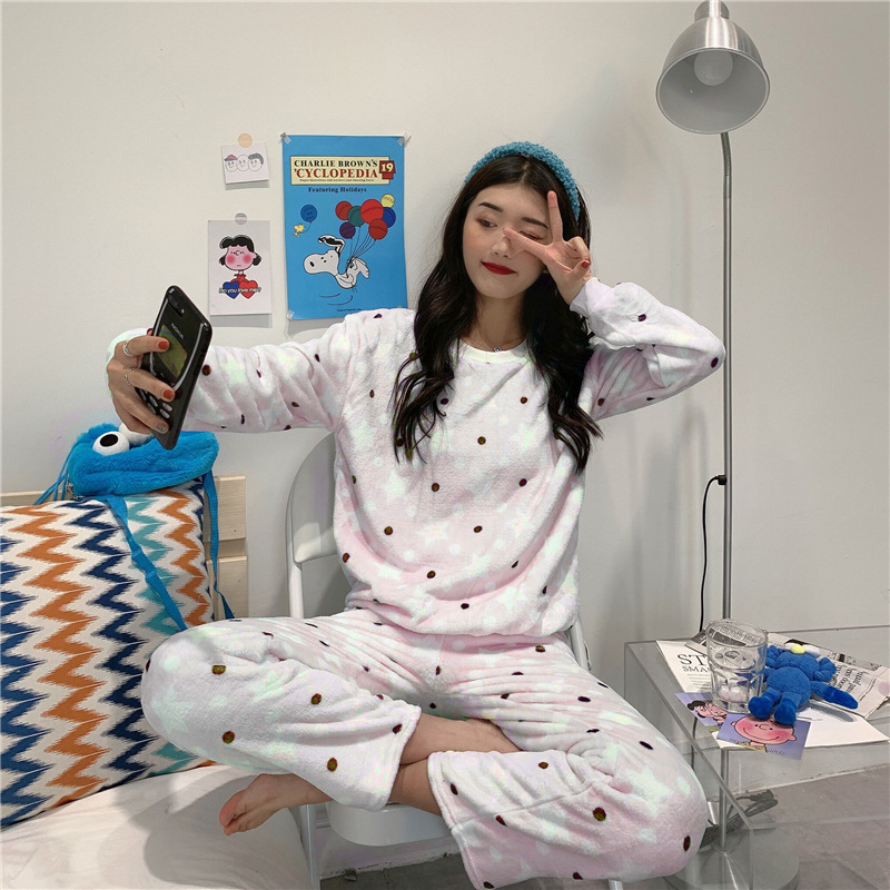 Autumn And Winter 2019 New Style Polka Dot Star Pattern Set Playful Cute GIRL'S Warm Pajamas Tracksuit Two-Piece Set