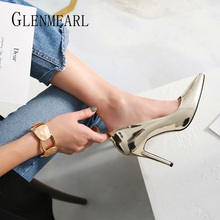 Women Heels High Female Pumps Brand Colorful Thin Heel Shoes Casual Plus Size 2019 Spring Autumn New EE