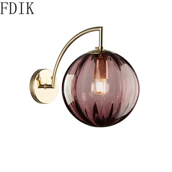 Modern Round Glass Ball Wall Lights Simple Sconce Led Wall Lamp for Home Bedroom Living Room Corridor Loft Decor Light Fixtures loft style clear glass wall lamp black metal glass ball wall light bedroom light dining room light free shipping